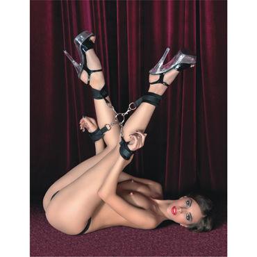 ToyFa Theatre Комплект бондажный Сцепка и фиксирующие ремни боди в крупную сетку со шнуровкой на груди и бантом сзади