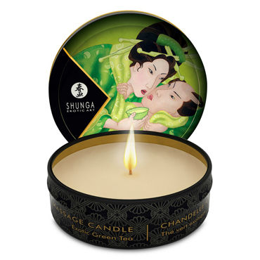 Shunga Massage Candle, 30м Массажная свеча, зеленый чай jimmyjane afterglow massage candle pink lotus 125г свеча для массажа с ароматом розового лотоса