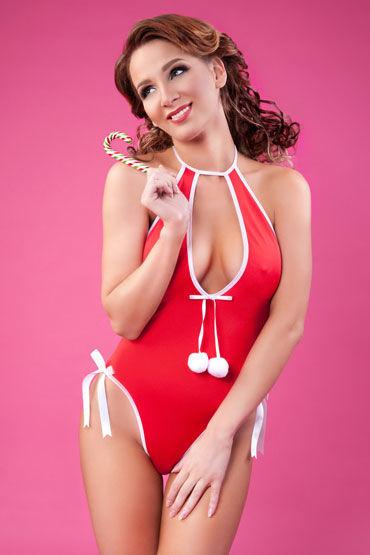 Erolanta Lingerie Боди, красное Новогоднее с помпонами erolanta боди с пушком
