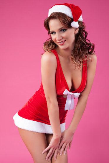 Erolanta Lingerie Костюм, красный Новогодний из платья и шапочки erolanta комплект корсет с оборкой и стринги размер s