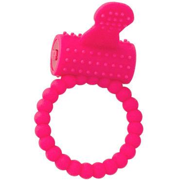 ToyFa A-toys Cock Ring, розовое Виброкольцо с клиторальным отростком you2toys black velvet cock ring ball черное кольцо с анальным шариком