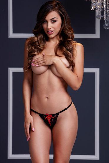 Baci Трусики стринги, черно-красные С сексуальной шнуровкой наручники игрушечные