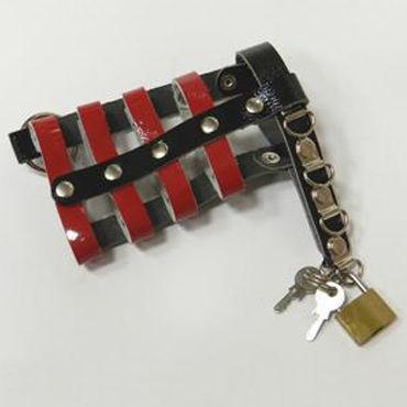 Podium пояс верности, красно-черный С замочком и ключами