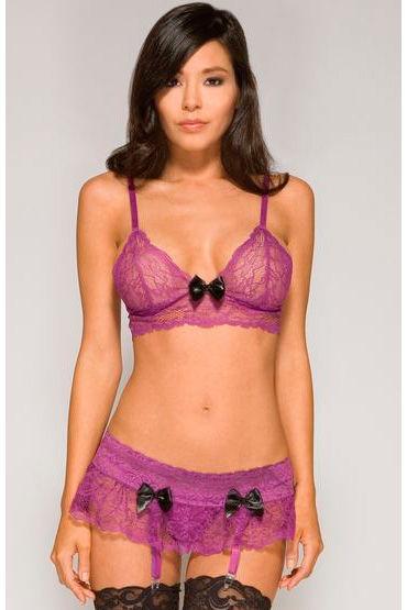 Forplay Lingerie комплект, фиолетовый Кружевной, с черными бантиками боди тедди монокини forplay lingerie