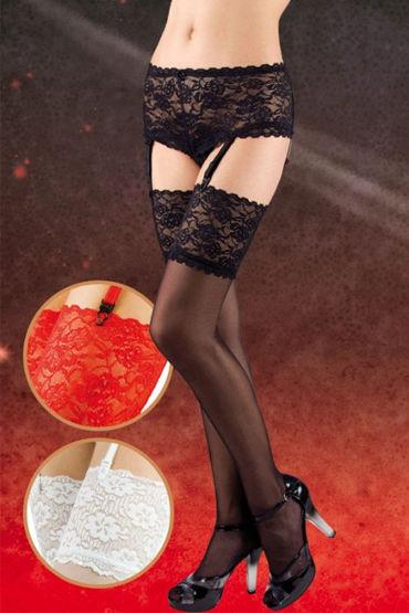 Soft Line комплект, черный Шортики и чулки с пажами комплект женский комбидресс перчатки чулки
