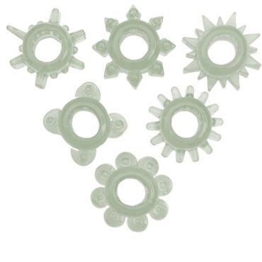 Toyfa набор, прозрачный Эрекционных колец вибратор поясной телесный 18 см