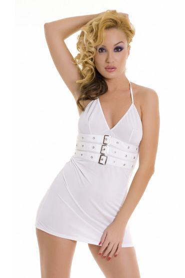 Erolanta платье, белое С ремешками на замочках, открытая спина фаллоимитатор насадка vac u lock 7 5 thin realistic телесная