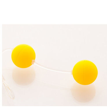 Sexus шарики вагинальные 11 см, желтые Без вибрации, гладкие анальные бусы renegade ripcord на длиной рукоятке чёрные