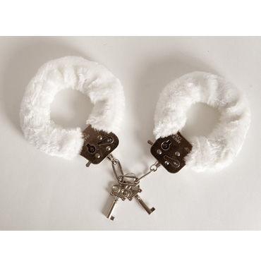 Toyfa наручники, 6см, белые Покрыты мягким материалом, с изящными ключиками pipedream chain o pain флоггер с металлическими цепочками
