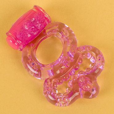 Toyfa виброкольцо, фиолетовое С вибропулькой, с дополнительным кольцом для мошонки