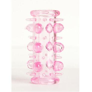 Toyfa набор насадок, розовый 5 штук, с шипами и пупырышками