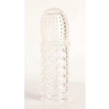Toyfa насадка, прозрачная С плоскими монетками и мягкими шипами, головка усеяна мелкими пупырышками