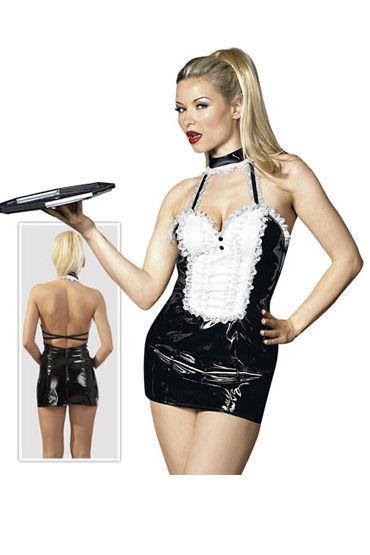 Cotelli платье горничной, черно-белое С открытой спиной, с застежкой на шее nature skin anal vibe вибратор анальный вибратор анатомической формы