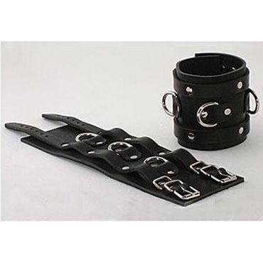 Beastly наручники, черные Широкие, с ремешками и кольцами для пристегивания