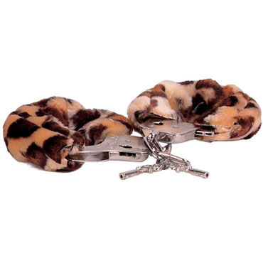 Gopaldas Luv-Bonds, леопардовые Наручники с мехом gopaldas double loops черные два эрекционных кольца