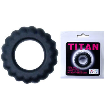 Baile Titan Cock Ring, черное Эрекционное кольцо с крупными ребрышками you2toys black velvet cock ring ball черное кольцо с анальным шариком