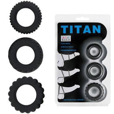 Baile Titan Cock Ring, черный Набор из эрекционных колец чулки coquette в мелкую сетку под пояс черные os