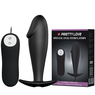 Baile Pretty Love Special Anal Stimulation, черная Анальная пробка в форме фаллоса topco tlc caliber vibrating silicone cock ring