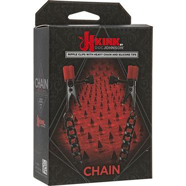 Doc Johnson Kink Chain, черные Зажимы на соски с контрастным декором