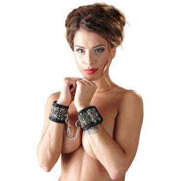 Bad Kitty Handcuffs, черные Мягкие наручники с узором бюстгальтеры passion