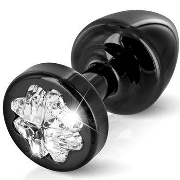 Diogol Anni Clover T1, черная Анальная пробка с кристаллом Swarovski в форме клевера