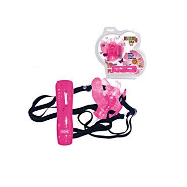 Baile Batterfly розовый На ремне, 7 скоростей вибрации, стимулятор точки G baile batterfly фиолетовый c анальным массажером на ремне 7 скоростей вибрации