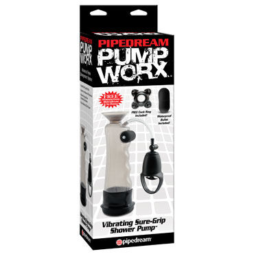 Pipedream Pump Worx Vibrating Sure-Grip Shower Pump, Вакуумная помпа с вибрацией