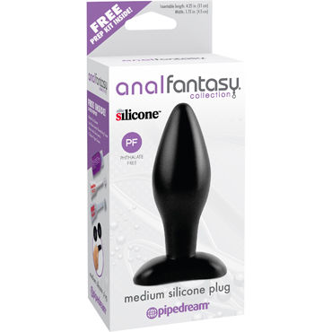 Pipedream Anal Fantasy Collection Medium Silicone Plug Анальная пробка среднего размера гель лубрикант wet fun flavors popp n cherry 316 мл 10 7 oz