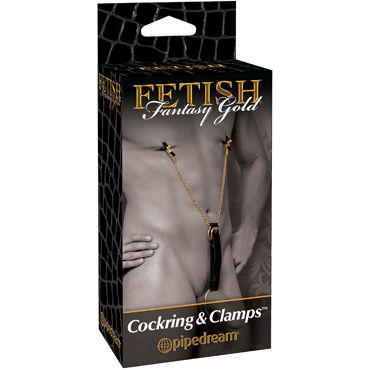 Pipedream Gold Cockring & Nipple Clamps Сбруя на пенис и зажимы для сосков gift set of bend over intermediate harness black and a tube if anal ese cream 1 5 oz cherry flavored