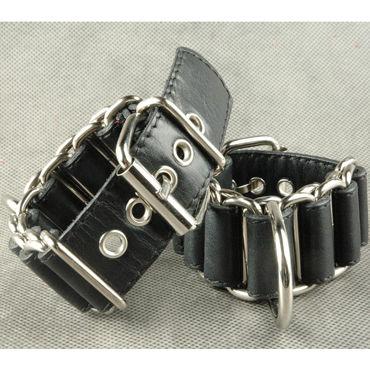 Beastly Оковы наручные, черные Из металлических колец с вплетённой кожей