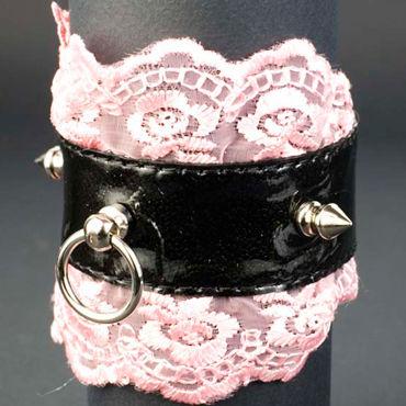 Beastly Готика-1, черно-розовый Запястник с кружевной отделкой кожаная и лаковая одежда allure lingerie ru