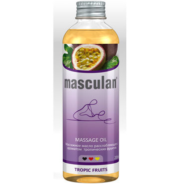 Masculan Massage Oil Tropic Fruits, 200 мл Массажное масло с тропическим ароматом erotic fantasy total leatherette whip кнут