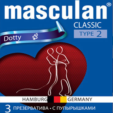 Masculan Classic Dotty Презервативы с пупырышками анальный стимулятор fantasy collection inflatable silicone ass expander