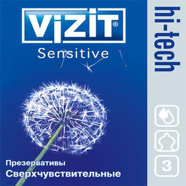 Vizit Hi-Tech Sensitive Презервативы особой анатомической формы c baci комплект черно бежевый