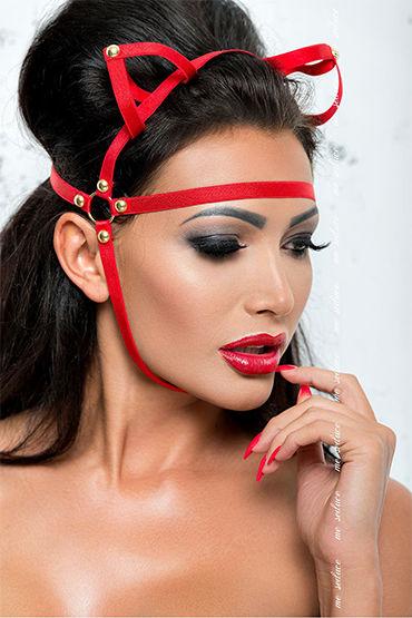 Me Seduce Маска с ушками, красная Из эластичных лент маска me seduce с ушками красная os