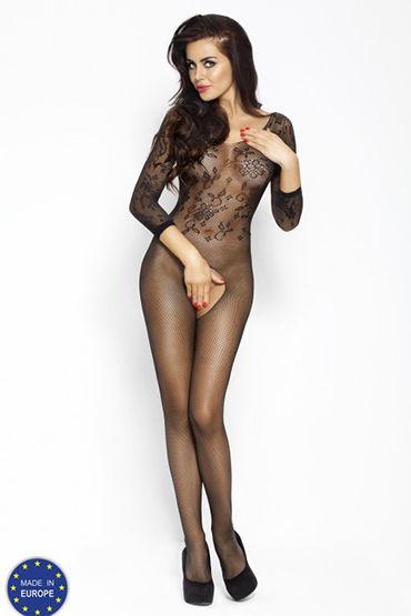 Passion Кроткая леди, черный Кэтсьют с длинными рукавами leg avenue колготки с игривыми бантиками сзади