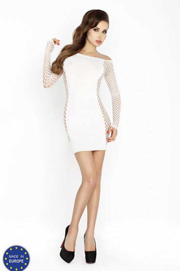 Passion Кокетка, белое Платье с длинным рукавом toyfa theatre флоггер из натуральной кожи черный с утолщениями на концах