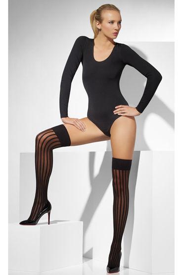Fever Sheer Hold-Ups with Vertical Stripes, черные Чулки на резинке с вертикальными полосами о кэтсьюты и чулки на тело baci lingerie