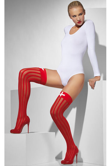 Fever Sheer Hold-Ups with Vertical Stripes and Cross Print, Чулки для медсестры