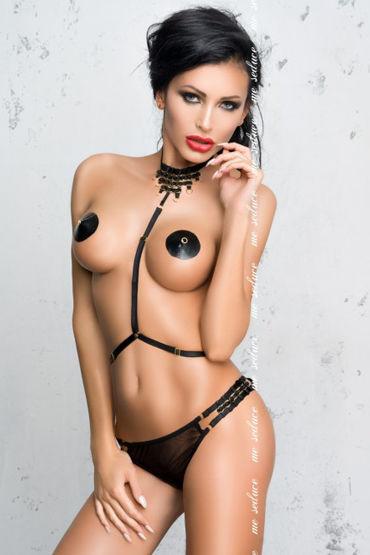 Me Seduce Портупея рабыни, черная С плетеным ожерельем chilirose комплект cr4132 сорочкастринги