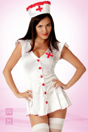Le Frivole Медсестра Эротичный халат и головной убор chilirose комплект cr4132 сорочкастринги