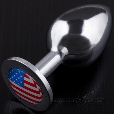 Пикантные штучки Большая анальная пробка С изображением флага США где можно джинсы с принтом флага сша