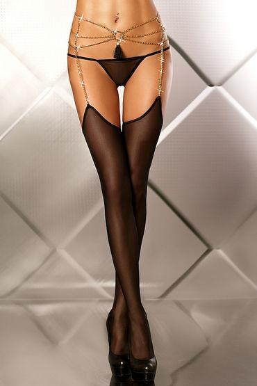 Lolitta Glamourous Set, черный Чулки с поясом из цепочек лубрикант на силиконовой основе hot exxtreme glide silicone 50 ml