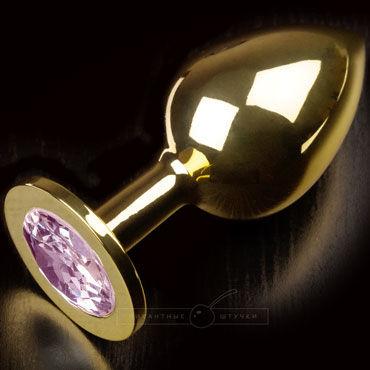 Пикантные штучки Большая анальная пробка, золотая С розовым кристаллом пикантные штучки большая анальная пробка золотая с фиолетовым кристаллом