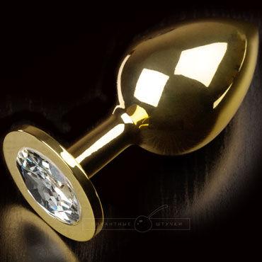 Пикантные штучки Большая анальная пробка, золотая С прозрачным кристаллом пикантные штучки большая анальная пробка золотая с фиолетовым кристаллом