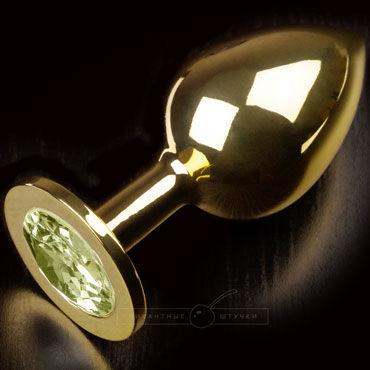 Пикантные штучки Большая анальная пробка, золотая С желтым кристаллом набор анальных пробок orbite разного размера