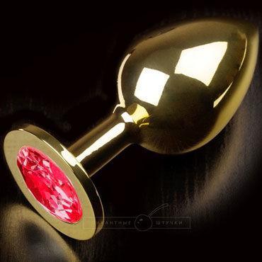 Пикантные штучки Большая анальная пробка, золотая С красным кристаллом пикантные штучки большая анальная пробка золотая с фиолетовым кристаллом