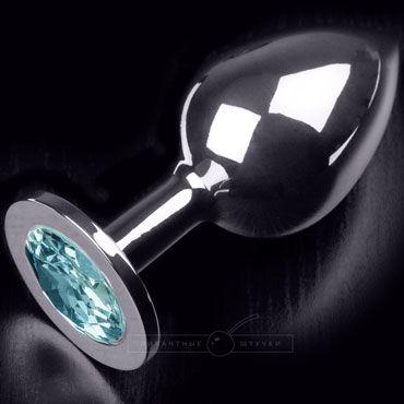 Пикантные штучки Большая анальная пробка, серебристая С голубым кристаллом
