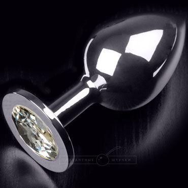 Пикантные штучки Большая анальная пробка, серебристая С прозрачным кристаллом я как увеличить член