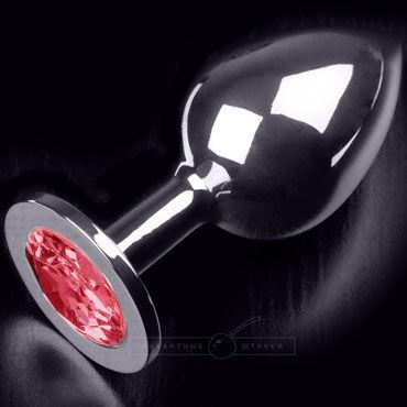 Пикантные штучки Большая анальная пробка, серебристая С рубиновым кристаллом фаллоимитатор sexus glass рельефный 18 см